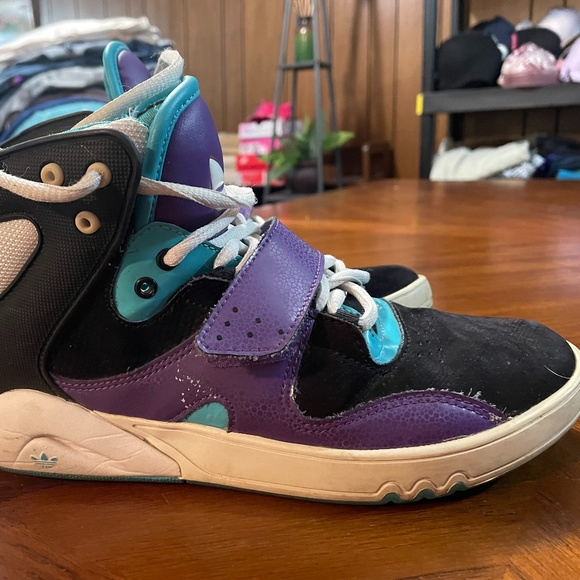 Adidas Roundhouse Purple & Blue High Top Sneakers.